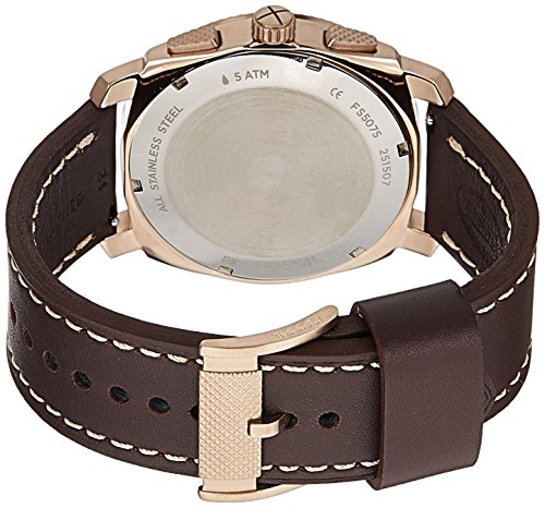 Fossil Men's FS5075 Machine Chronograph Leather Watch – Dark Brown by Fossil (Image #1)