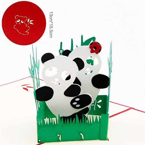 Paper Spiritz Panda 3D Pop up Greeting Card Postcard with Envelope Laser Cut Handmade Mother's Day Birthday Post Card Mom Best Wishes Gift(Pack of 1)