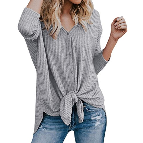 Minisoya Womens Long Sleeve Knit Tunic Blouse Bandage Knotted Henley Tops Shirt Casual Loose Button T-Shirts (Gray, XL) by Minisoya