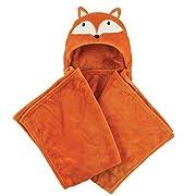 Hudson Baby Plush Hooded Blanket, Orange Fox, One Size