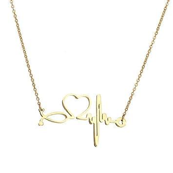 Collar de acero inoxidable, oro, plata, latidos del corazón ...