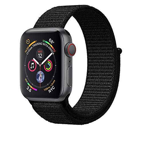 AdMaster Compatible for Apple Watch Band 42mm 44mm, Soft Nylon Sport Loop Replacement Wristband Compatible iWatch Apple Watch Series 4/3/2/1 Dark Black
