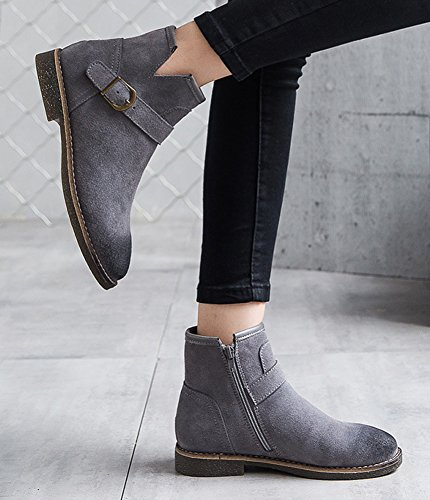 Aisun Up Gray Side Top Boots Stylish Womens Comfy Round Ankle Flat High Buckle Toe Zip Strap Booties rqrSaPzw