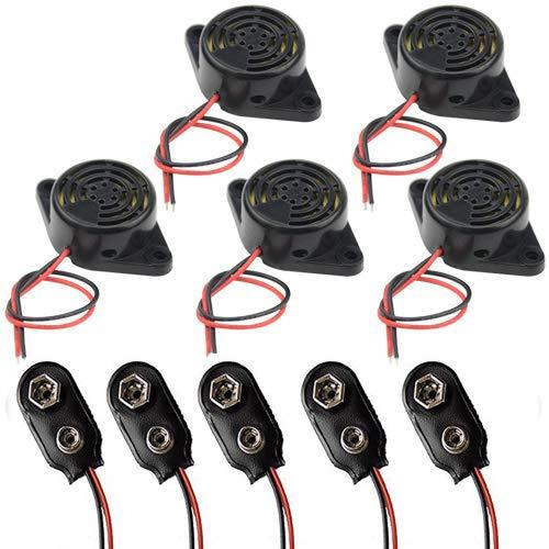 RUNCCI-YUN 5pcs DC 3-24V Electronic Buzzer Alarma Sounder Sonido Continuo (Pack de 5) +Conector clip de la batería 9V (Pack de 5)