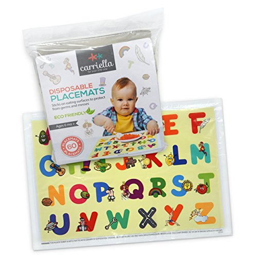 Carriella 60 Count ABC Disposable Placemats for Children Stick on Table Topper by Disposable Placemats (Image #4)