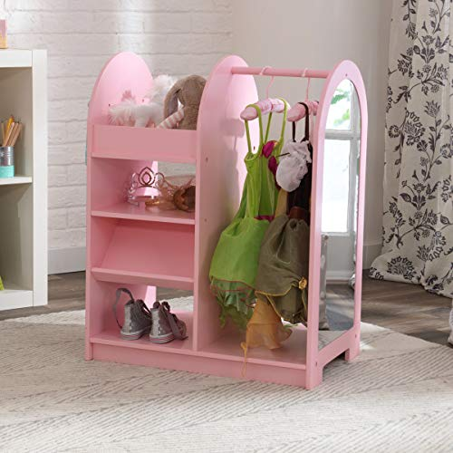 KidKraft Wooden Fashion Pretend Dress-Up Station Children's Furniture with Storage and Mirror - Pink