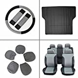 Scitoo 13-PCS Trunk Liner Floor Mat Black/Gray Car Seat Covers W/Steering Wheel Cover for Heavy Duty Vans Trucks