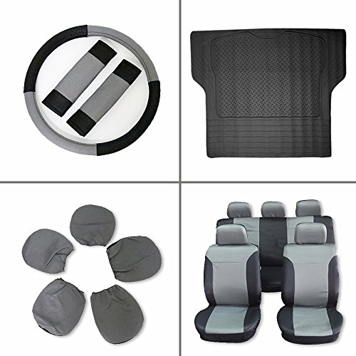Scitoo 13-PCS Trunk Liner Floor Mat Black/Gray Car Seat Covers W/Steering Wheel Cover for Heavy Duty Vans Trucks by Scitoo