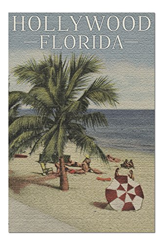 - Hollywood, Florida - Beach Scene - Vintage Postcard (20x30 Premium 1000 Piece Jigsaw Puzzle, Made in USA!)
