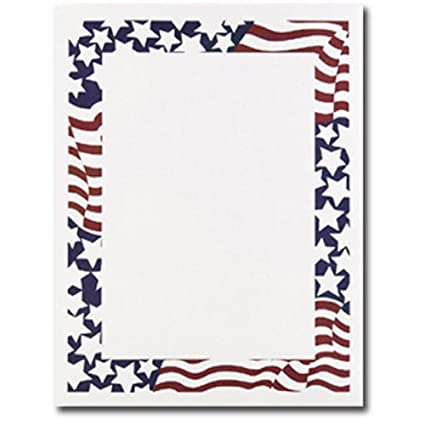 1a0f2bd6b9b8 Amazon.com   Patriotic Stars   Stripes American Flag Border 4th of July  Computer Printer Paper (50 Sheets)   Office Products