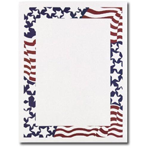 Patriotic Stars & Stripes American Flag Border 4th of July Computer Printer Paper (50 Sheets)