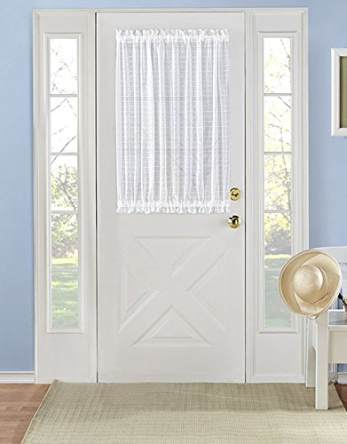 Traditional Plaid Sheer French Door Curtain Panel – Assorted Colors & Sizes (53 in. W x 45 in. L, White)