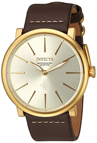 Invicta Men's 'I-Force' Quartz Stainless Steel and Leather Casual Watch, Color:Brown (Model: 22935)