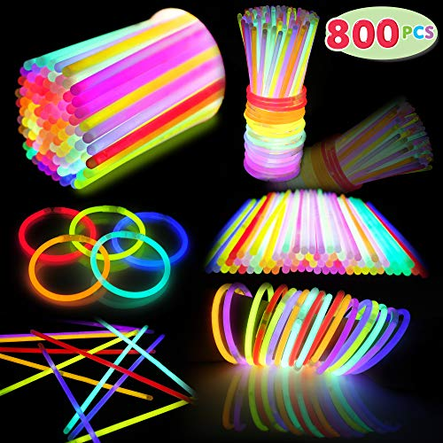 800 PCs Glow Sticks Bulk Colorful Neon for Glowstick Party Favors, Glow in the Dark Necklace & Bracelet, Birthday Christmas Halloween Football Party Disco Supplies, Camping Accessories