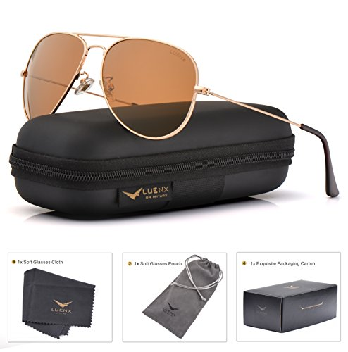LUENX Womens Mens Aviator Sunglasses Polarized Brown Amber Lenses Gold Metal Frame UV400 Protection Classic - Sunglasses Light
