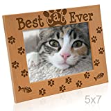 Kate Posh - Best Cat Ever Photo Frame - Cat and Kitten Paws - Engraved Natural Wood Picture Frame - Kitten Picture Frame, Cat Picture Frame, Cat Mom Gifts (5x7-Horizontal)