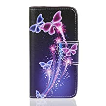 Back Skin Galaxy J3 Wallet Case,Cover Samsung Amp Prime Cover Leather,Galaxy J320P Case Wallet,Premium PU Leather Wallet Cover for Samsung Express Prime Phone Case,HX purple butterfly