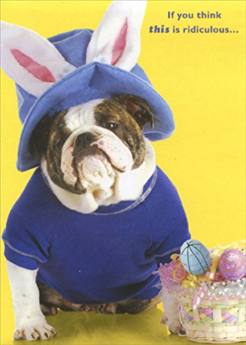 Dog with Blue Hat and Rabbit Ears - Designer Greetings Funny Easter Card