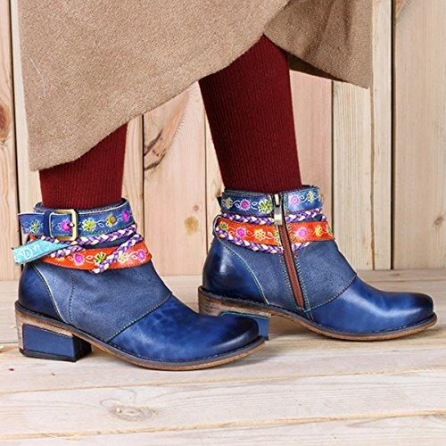 Socofy Dames Korte Schacht Laarzen, Bloemen Laarzen Klassieke Enkellaars Korte Laarzen Met De Hand Gemaakte Anit-slip Comfortabele Leren Schoenen Blauw-a