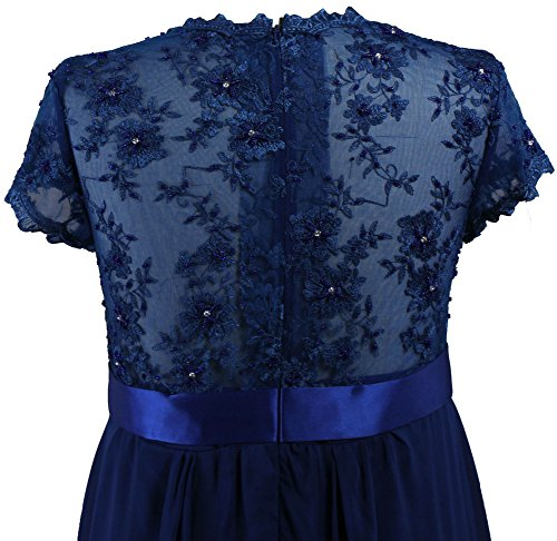 ANTS Short Sleeve Lace Chiffon Gown Long Mother of the Bride Dresses