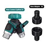 PATHONOR 2 Way Y Hose Connector, Grip Garden Hose Y Valve Garden Hose Splitter with 3 adapter 3 Washers for house lawn patio garden orchard