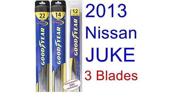 2013 Nissan Juke hoja de limpiaparabrisas de repuesto Set/Kit (Goodyear limpiaparabrisas blades-hybrid): Amazon.es: Coche y moto