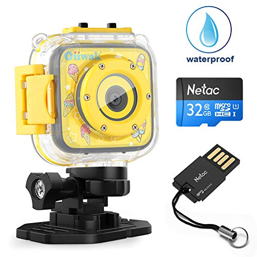 Camera for Kids, Oiiwak Children Camcorder Waterproof Digital Video HD Action Camera 1080P Sports Camera for Girls Birthday Toy (Yellow)