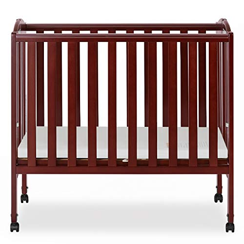 (Dream On Me 2 in 1 Portable Folding Stationary Side Crib, Cherry)