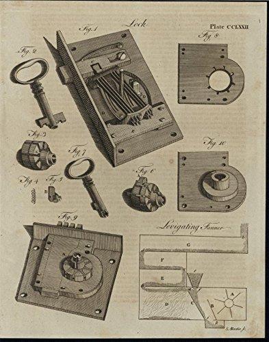 (Locking Mechanisms Levigate Small Keys 1798 America rare antique print)