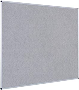 VIZ-PRO Notice Board Felt Gray, 36 X 24 Inches, Silver Aluminium Frame