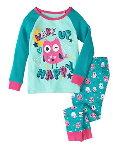- Baby and Toddler Girls Snug Fit Graphic Pajama Long Sleeve Shirt and Pants Two-Piece Set (3T, Happy Owl)