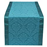 The White Petals Teal Table Runner 14x80 inches Perfect For Regular Table, Round Table & As Bed Runner For Twin Bed - By