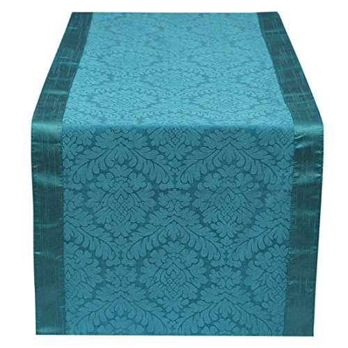 The White Petals Teal Table Runner 14x108 inches Perfect For Long Table, Round Table & As Bed Runner For King Size Bed - (Bedroom King Size Table)