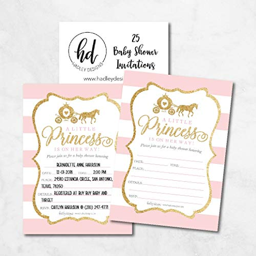 25 Little Princess Baby Shower Invitations, Pink & Gold Sprinkle Invite for Girl, Modern Gender Theme On Her Way, Cute Printed Fill or Write in Blank Printable Card Unique Coed Party Supplies by Hadley Designs (Image #1)