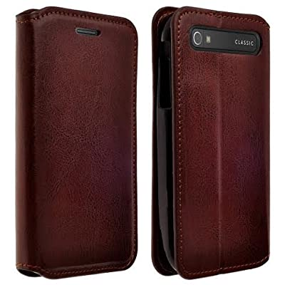 BlackBerry Classic (T-Mobile Case) - Magnetic Leather Folio Flip Book Wallet Pouch Case Cover With Fold Up Kickstand from Galaxy Wireless