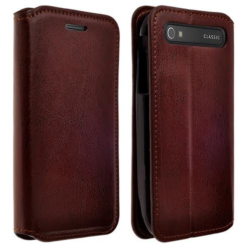 BlackBerry Classic Case - Magnetic Leather Folio Flip Book Wallet Pouch Case Cover With Fold Up Kickstand (Brown Slim Leather Wallet)