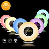 Wake Up Light, Popwinds 2018 Upgraded LED Digital Alarm Clock Lamp with FM Radio Sunrise Simulation Snooze 7 Colors 6 Nature Sounds Multi Light Modes Touch Control Sunset Simulator Colourful Bedside Night Light for Heavy Sleepe