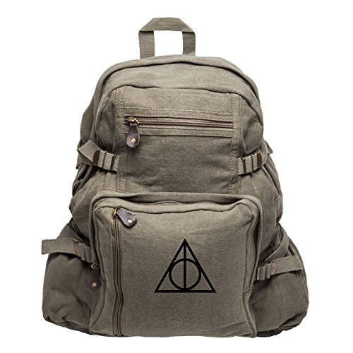 Deathly Hallows Harry Potter Heavyweight Canvas Backpack Bag Olive & Black Large