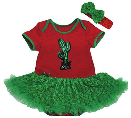 Paillettes Cactus De Vert Justaucorps Bébé Filles Petitebella Rose Robe Rouge
