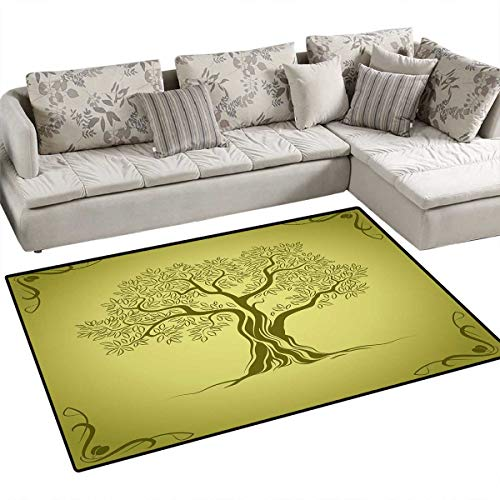 Olive Green Floor Mat for Kids Mediterranean Olive Tree Silhouette with Ornamental Frame Nature Inspirations Bath Mat Non Slip 3'x5' Olive Green