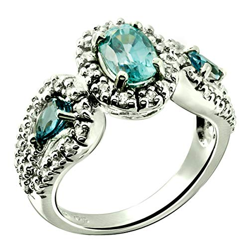 RB Gems Sterling Silver 925 Ring Genuine Gemstone Oval 7x5 mm with Rhodium-Plated Finish, 3-Stone-Style (8, Blue-Zircon) (Ring Setting Oval 5mm)