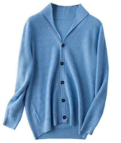 Men's Cashmere Cardigan, Shawl Collar V Neck Button Down Cashmere Sweater Cardigan Knitwear Jacket for Men, Sky Blue, US X-Small = Tag ()