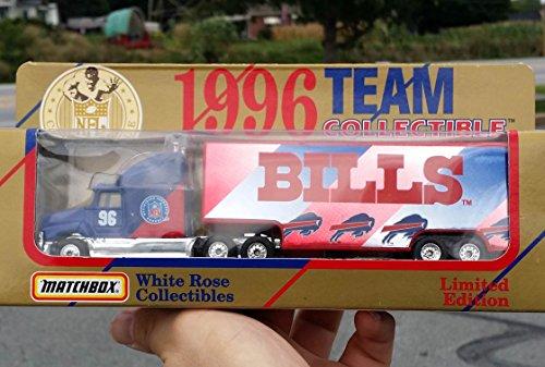 Nfl Football Diecast Collectible - Matchbox 1996 BUFFALO BILLS NFL FOOTBALL Tractor Trailer Truck in 1:87 Scale Diecast