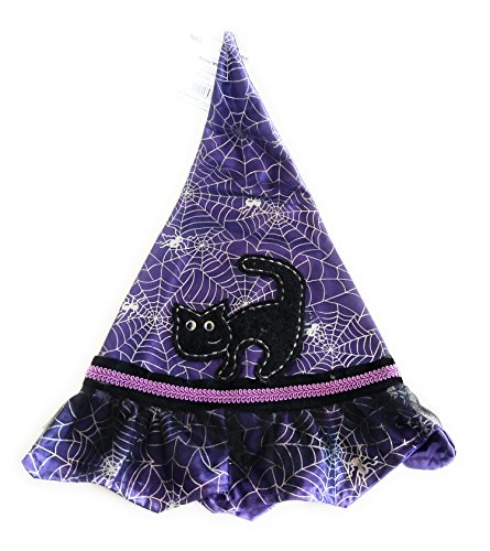 Deluxe Satin Witch Hat, Purple - Black Cat and Spider Web, Costume Accessory, One Size Fits Most