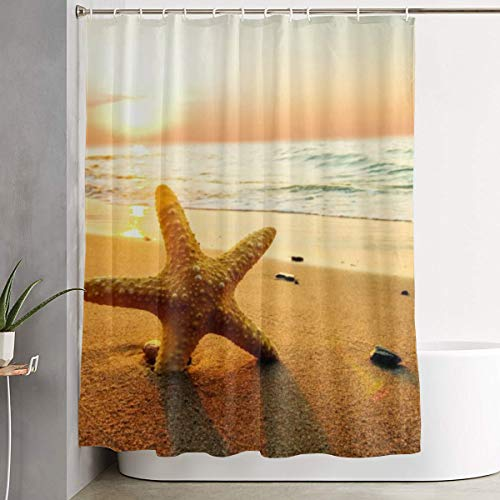 NiYoung Polyester Shower Curtain Beach Starfish Stalls and Bathtubs Shower Curtains Water Repellent Bathroom Curtains with 12 Hooks