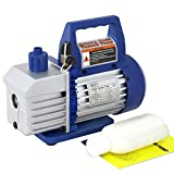 Super Deal VP125+ Single-Stage 3.5CFM Rotary Vane 5 Pa Vacuum Pump, 1/4HP HVAC Heavy Duty Air Refrigerant Tool, R410a R134, Blue