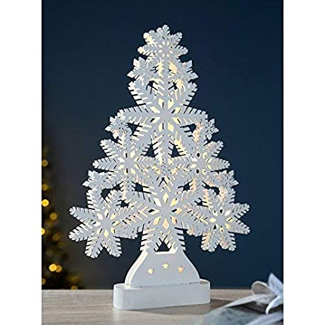Garden Mile Large 40cm Light Up Battery Operated White Shabby Chic Wooden Table Top Snowflake Christmas Tree Warm White Led Lights Shabby Chic Xmas