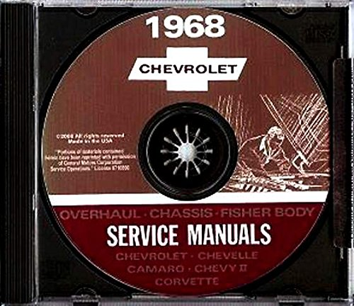- 1968 Chevy Chevrolet Chevelle Camaro El Camino Corvette Chevy II Impala Repair Shop Service Manual CD GM 68 (With Decal)