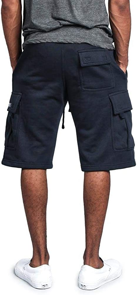 G-Style USA Mens Solid Fleece Heavyweight Cargo Shorts