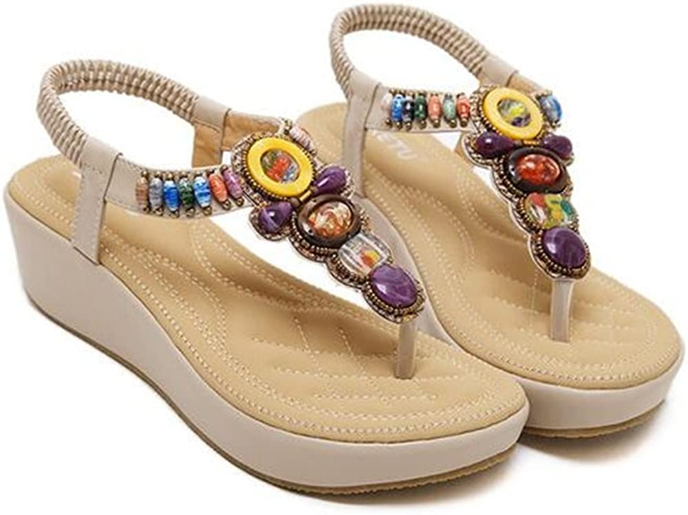 LYLIFE Sandals Women Bohemia Beads Summer Shoes Wild Casual Beach Flats